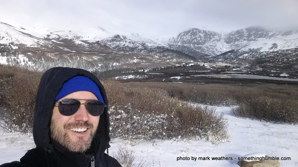 Selfie on the snowbound trail to Mt. Beirstadt, Colorado.
